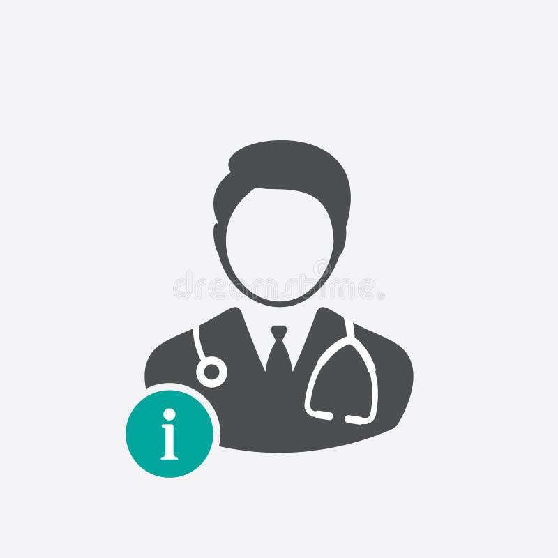 Ícone do doutor com sinal da informação Medique o ícone e aproximadamente, FAQ, ajuda, símbolo da sugestão ilustração do vetor