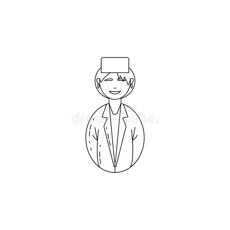 ícone do doutor da mulher do avatar Profissões para apps móveis do conceito e da Web Linha fina ícone para o projeto do Web site  ilustração stock