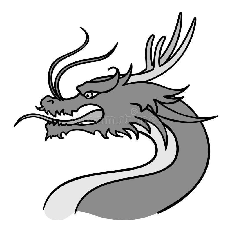 Ícone do dragão no estilo monocromático isolado no fundo branco Ilustração do vetor do estoque do símbolo de Coreia do Sul ilustração royalty free