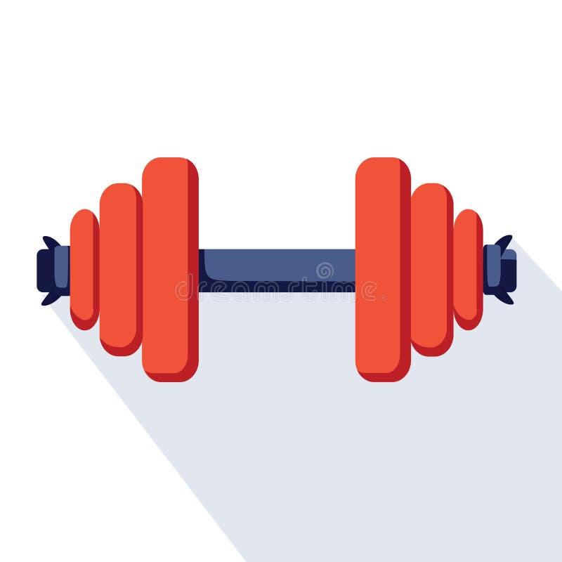 Ícone do dumbell do esporte Ilustração lisa do ícone do dumbell do esporte para o design web Logotipo do app do esporte, halterof ilustração royalty free