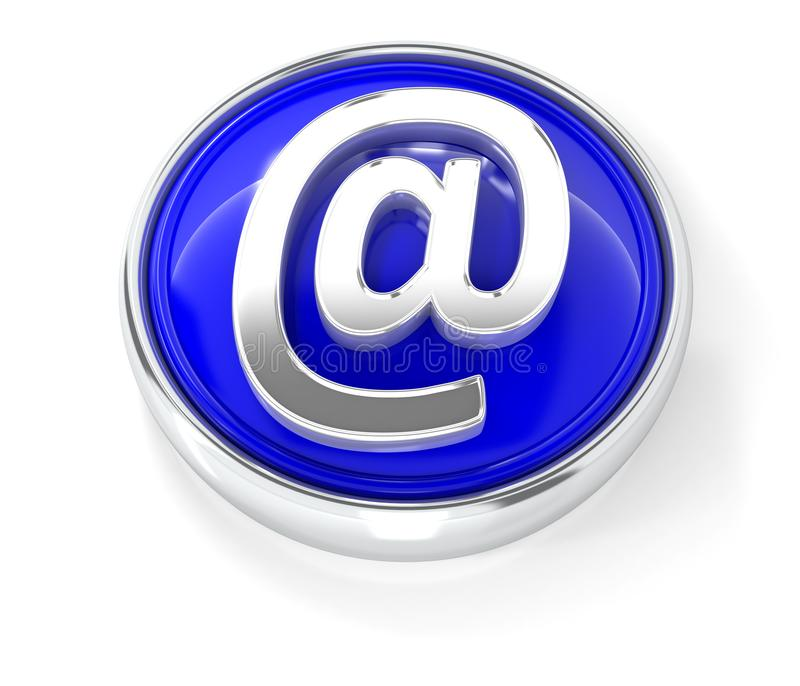 Ícone do e-mail no botão redondo azul lustroso ilustração royalty free