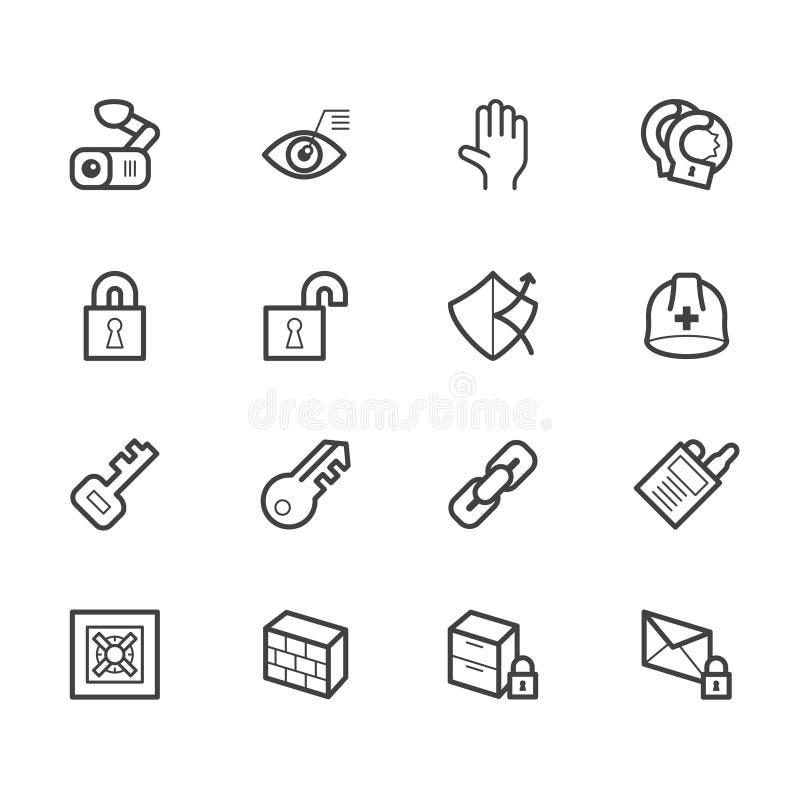 Ícone do elemento de segurança ajustado no fundo branco imagem de stock royalty free