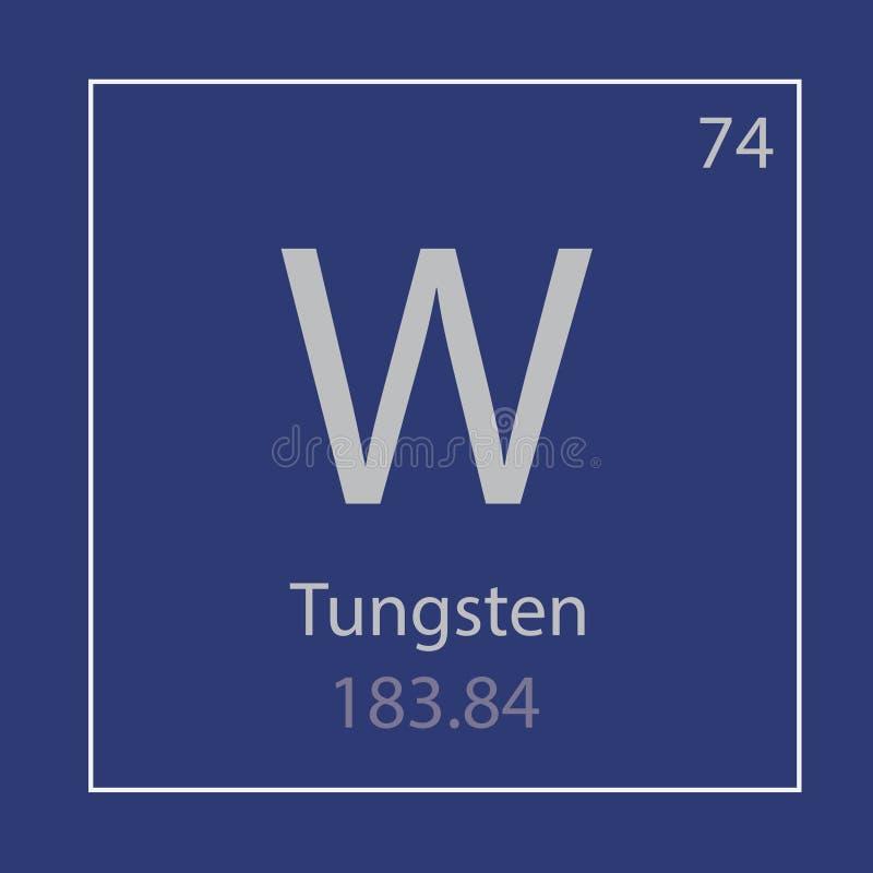 Ícone do elemento químico de W do tungstênio ilustração do vetor