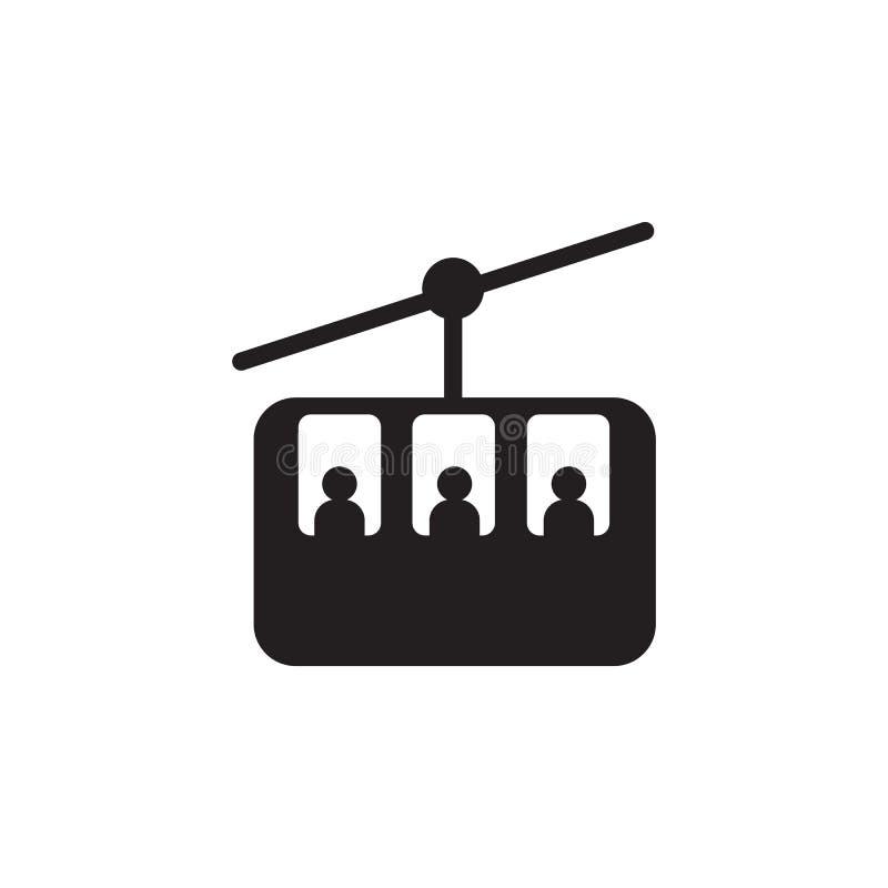 Ícone do elevador do cabo do esqui para o esqui e o ícone dos esportes de inverno ilustração stock