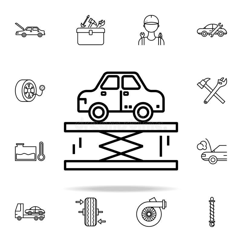 ícone do elevador do carro Os carros prestam serviços de manutenção e o grupo universal dos ícones das peças de reparo para a Web ilustração stock