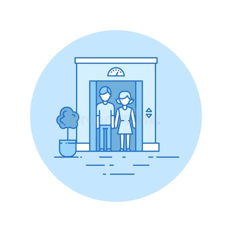 Ícone do elevador no estilo do lineart ilustração stock