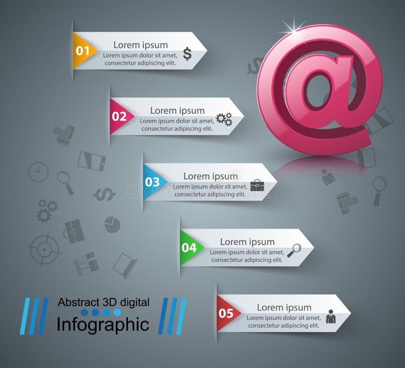 Ícone do email e do correio 3D abstrato Infographic ilustração royalty free