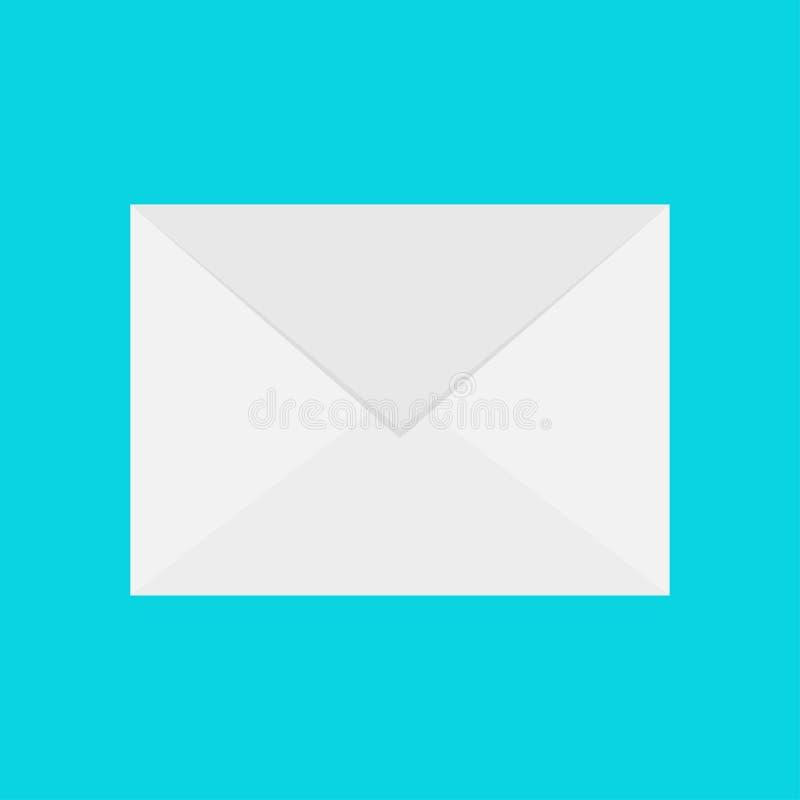 Ícone do email Envelope do Livro Branco Molde da letra Símbolo novo do sinal da mensagem Notificação Unread Projeto liso Fundo pa ilustração royalty free