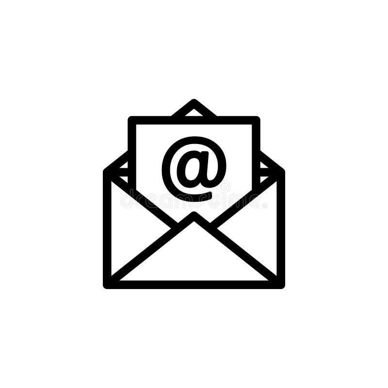 Ícone do email do esboço Linha símbolo do correio para o projeto do Web site ilustração royalty free