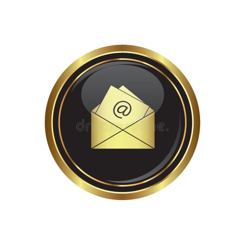Ícone do email no botão ilustração stock