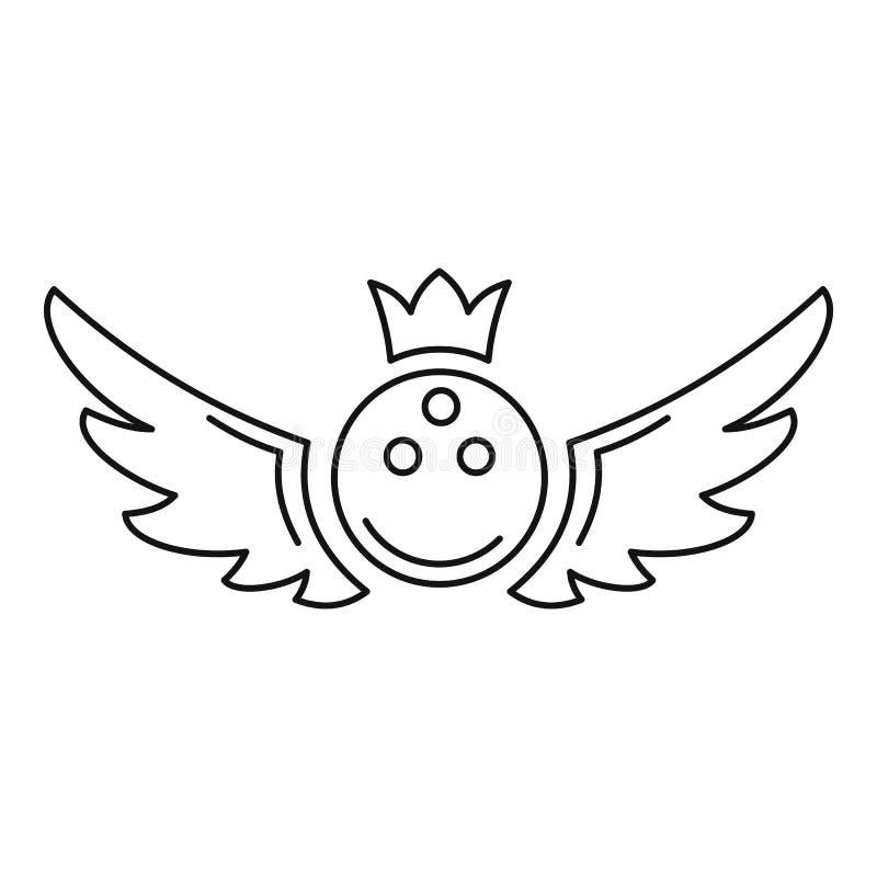 Ícone do emblema do rei do boliches, estilo do esboço ilustração stock