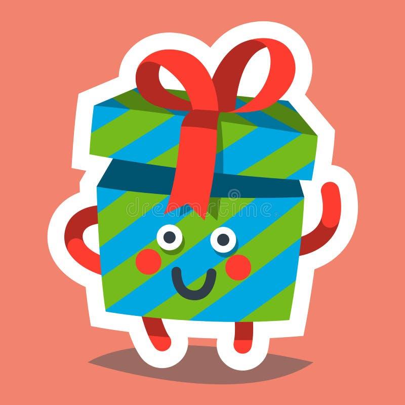 Ícone do Emoticon para o tema do ano novo feliz Presente feliz ilustração do vetor