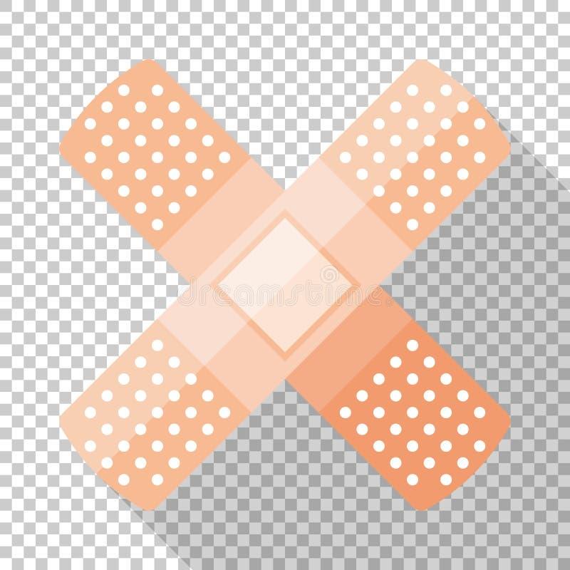 Ícone do emplastro esparadrapo ou do colar-emplastro no estilo liso no fundo transparente ilustração stock
