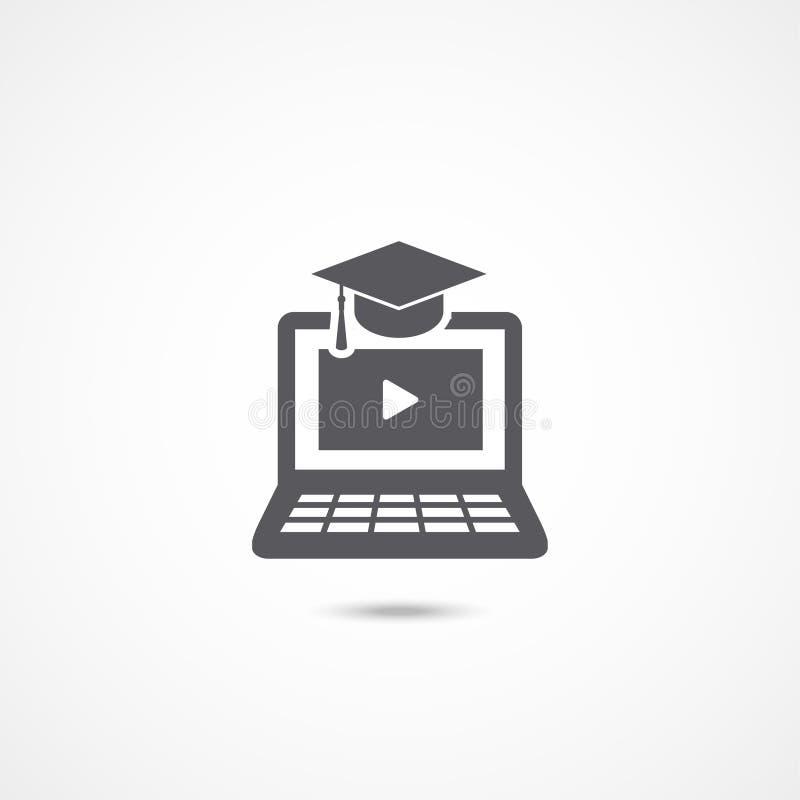 Ícone do ensino eletrónico no branco ilustração royalty free