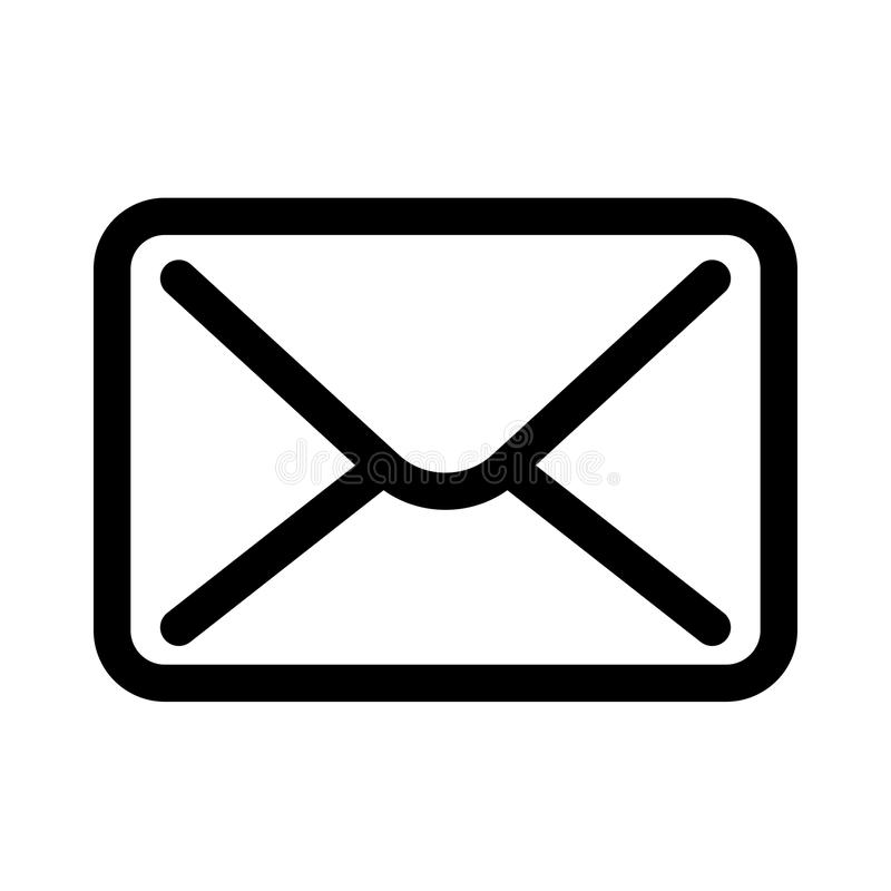 Ícone do envelope do correio Símbolo de uma comunicação ou da estação de correios do email Elemento do projeto moderno do esboço  ilustração stock