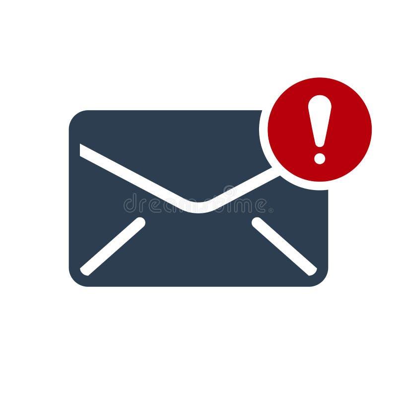 Ícone do envelope, ícone dos multimédios com marca de exclamação Ícone do envelope e alerta, erro, alarme, símbolo do perigo ilustração do vetor