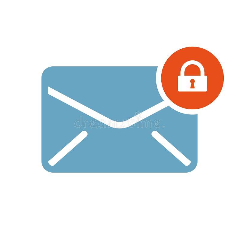 Ícone do envelope, ícone dos multimédios com sinal do cadeado Ícone do envelope e segurança, proteção, símbolo da privacidade ilustração royalty free
