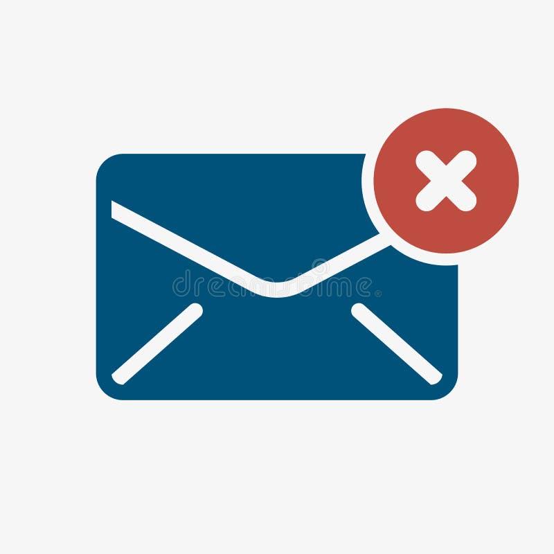 Ícone do envelope, ícone dos multimédios com sinal do cancelamento O ícone do envelope e o fim, supressão, removem o símbolo ilustração royalty free