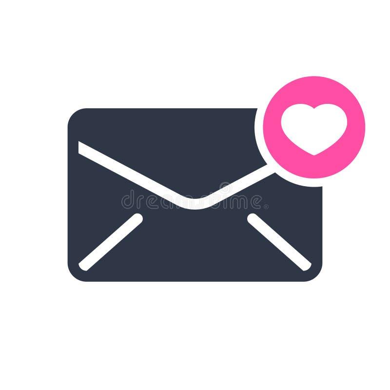 Ícone do envelope, ícone dos multimédios com sinal do coração Ícone e favorito do envelope, como, amor, símbolo do cuidado ilustração stock