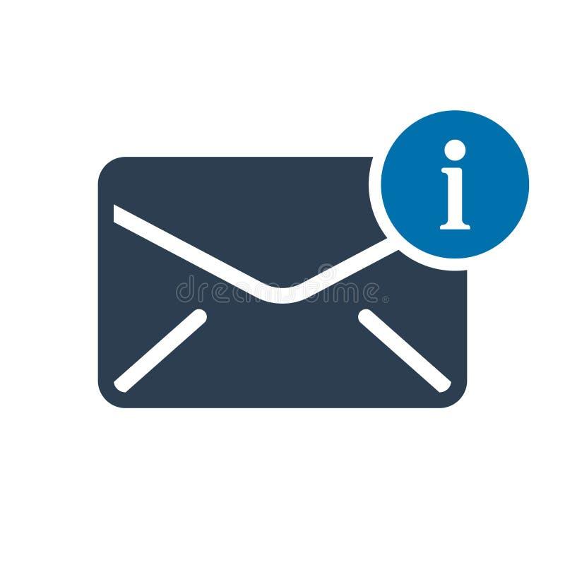 Ícone do envelope, ícone dos multimédios com sinal da informação Ícone do envelope e aproximadamente, FAQ, ajuda, símbolo da suge ilustração royalty free