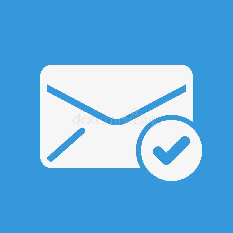 Ícone do envelope, ícone dos multimédios com sinal da verificação O ícone do envelope e aprovado, confirma, feito, tiquetaque, sí ilustração do vetor