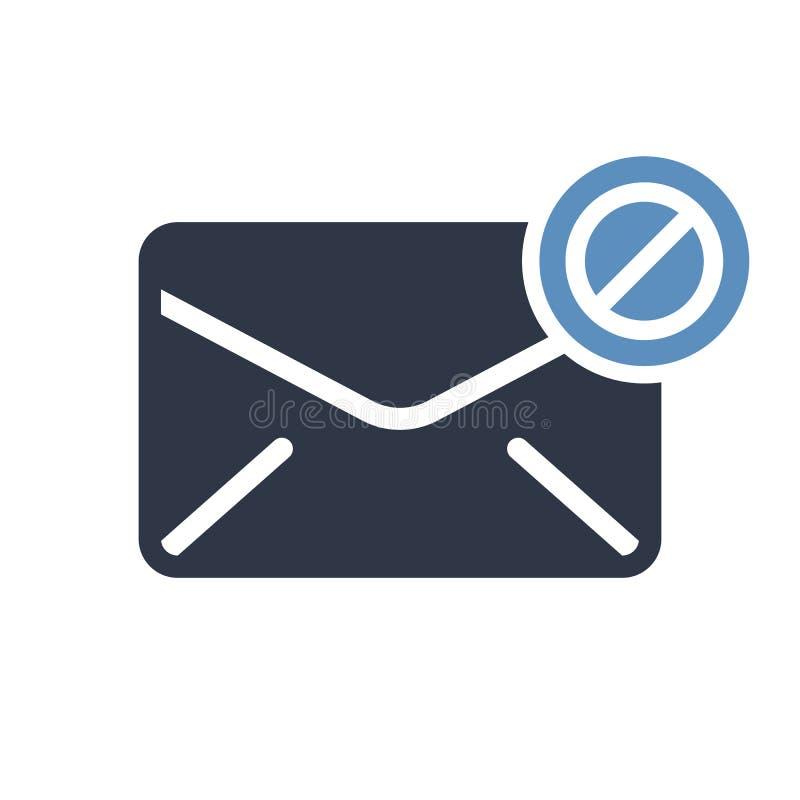 Ícone do envelope, ícone dos multimédios com sinal não permitido O ícone e o bloco do envelope, proibidos, proibem o símbolo ilustração stock