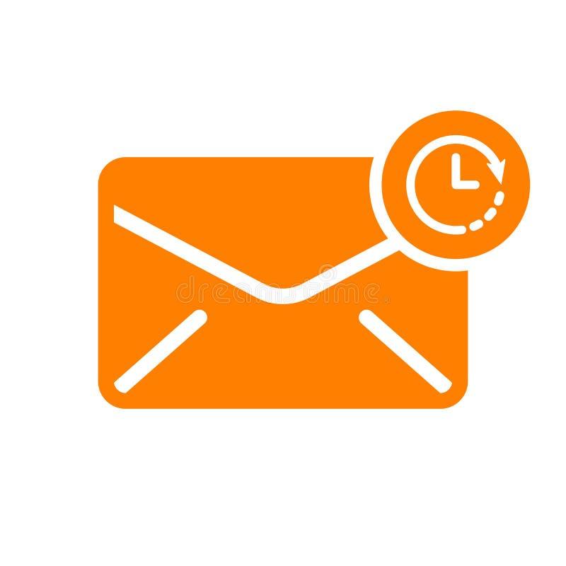 Ícone do envelope, ícone dos multimédios com sinal do pulso de disparo Ícone do envelope e contagem regressiva, fim do prazo, pro ilustração do vetor