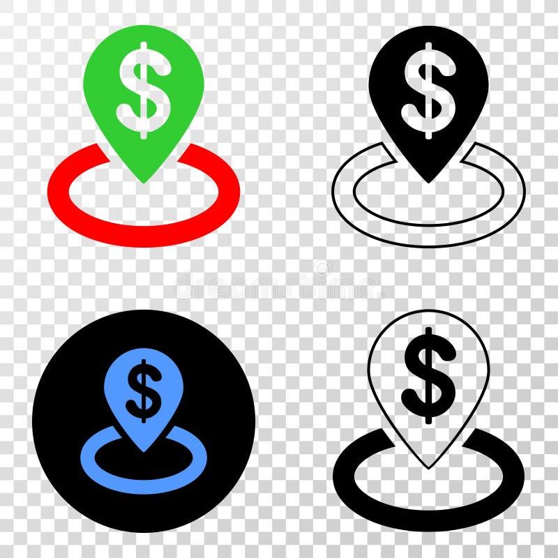 Ícone do EPS do vetor do lugar do banco com versão do contorno ilustração stock