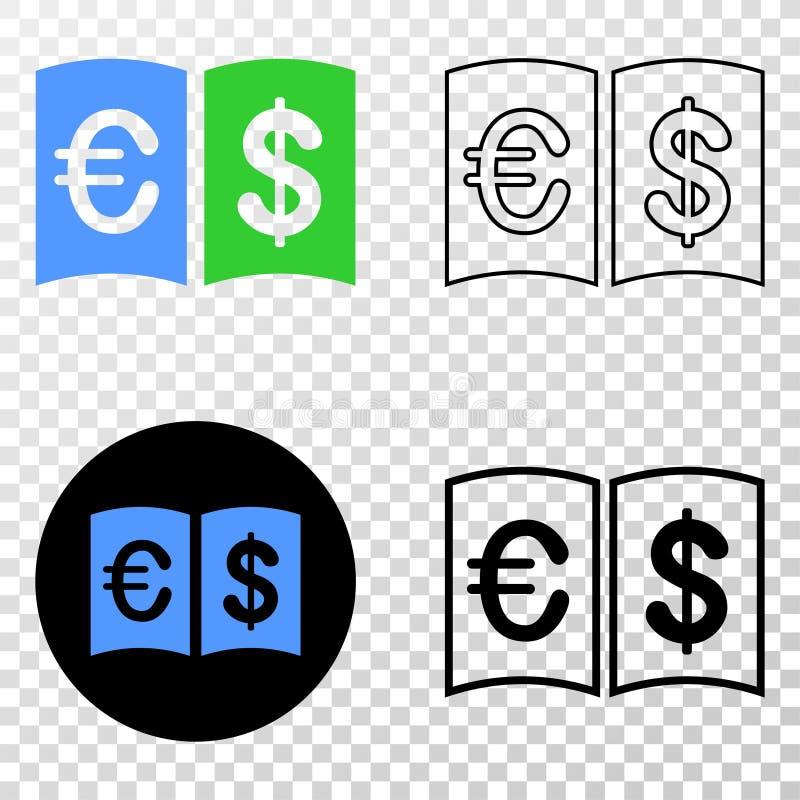 Ícone do EPS do vetor do manual da moeda com versão do contorno ilustração stock