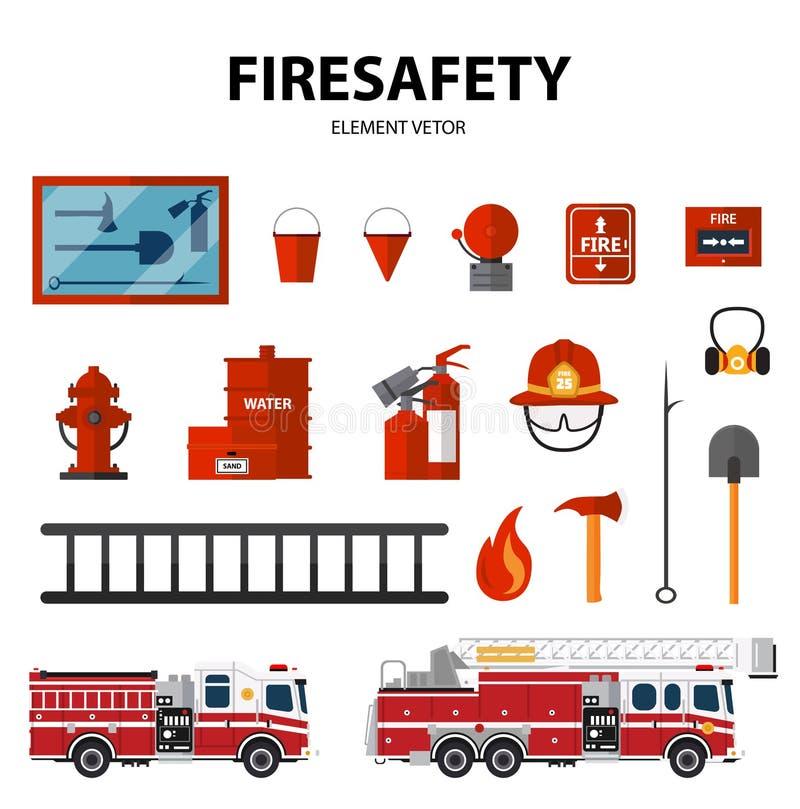 ícone do equipamento da Incêndio-brigada e do bombeiro ilustração do vetor