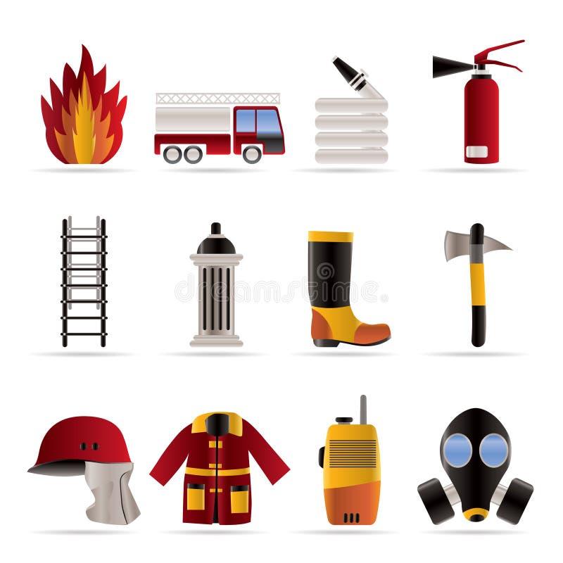 ícone do equipamento da Incêndio-brigada e do bombeiro - vetor mim ilustração do vetor