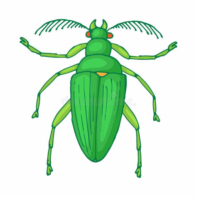 Ícone do erro do inseto, estilo dos desenhos animados ilustração do vetor