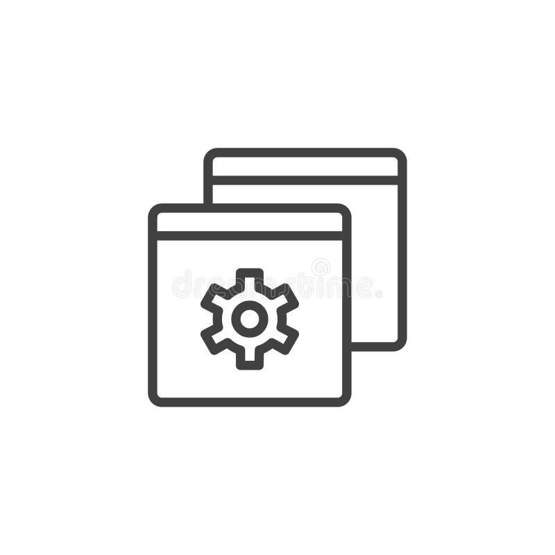 Ícone do esboço do ajuste de navegador ilustração stock