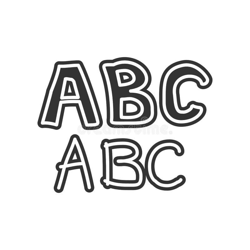 ícone do esboço do alfabeto Elemento da educação para o conceito e o ícone móveis dos apps da Web Glyph, ícone liso para o projet ilustração stock