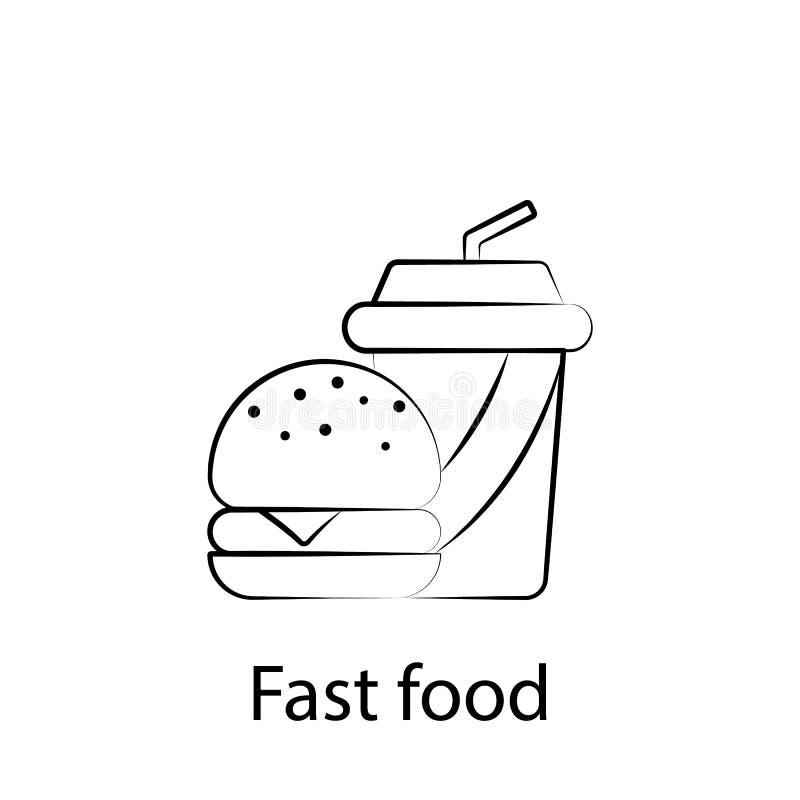 ?cone do esbo?o do alimento do fast food Elemento do ?cone da ilustra??o do alimento Os sinais e os s?mbolos podem ser usados par ilustração royalty free