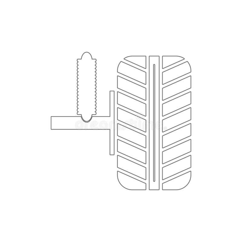 ícone do esboço do amortecedor e da roda do carro Elementos do ?cone da ilustra??o do reparo do carro Os sinais e os s?mbolos pod ilustração stock