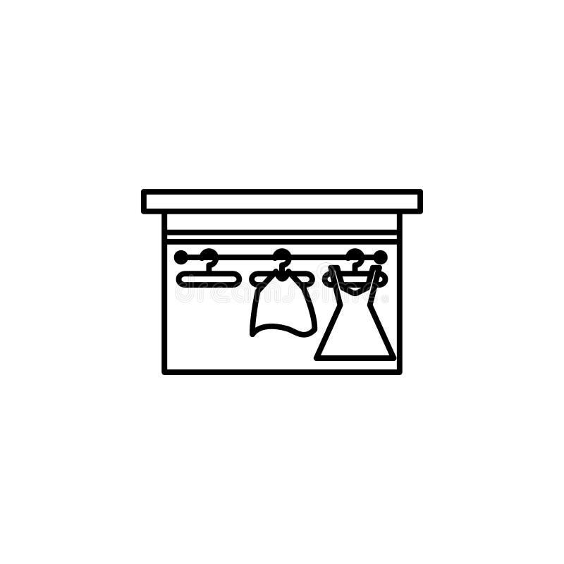 ícone do esboço do armazém das mulheres Elemento do ícone da compra para apps móveis do conceito e da Web Linha fina armazém CI d ilustração do vetor