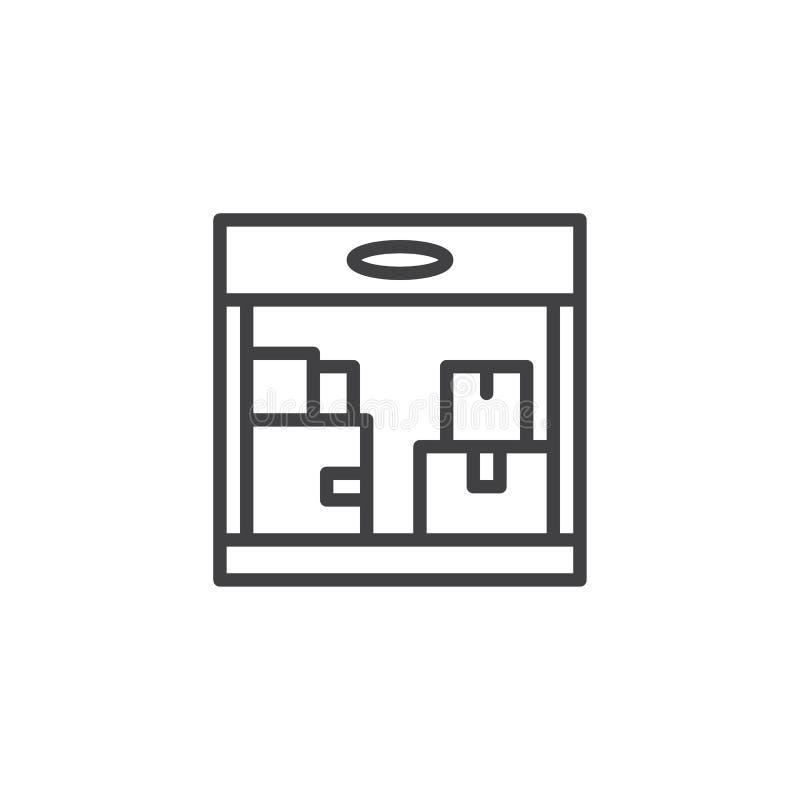 Ícone do esboço do armazenamento do armazém ilustração royalty free