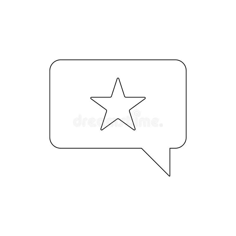 Ícone do esboço do bate-papo da estrela da recomendação Os sinais e os s?mbolos podem ser usados para a Web, logotipo, app m?vel, ilustração stock
