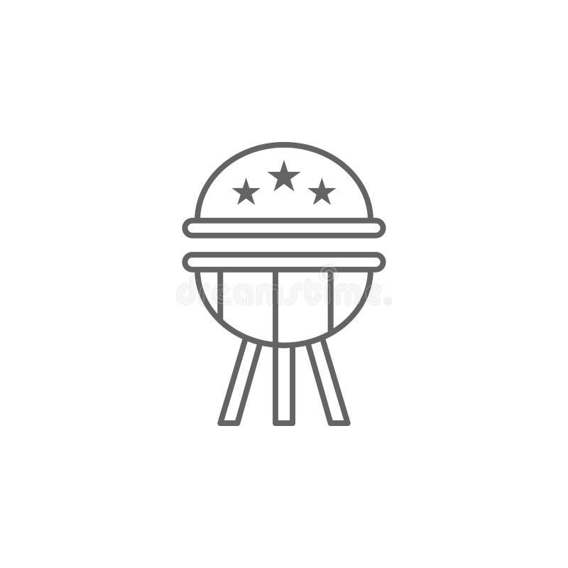 Ícone do esboço do BBQ EUA Os sinais e os s?mbolos podem ser usados para a Web, logotipo, app m?vel, UI, UX ilustração do vetor