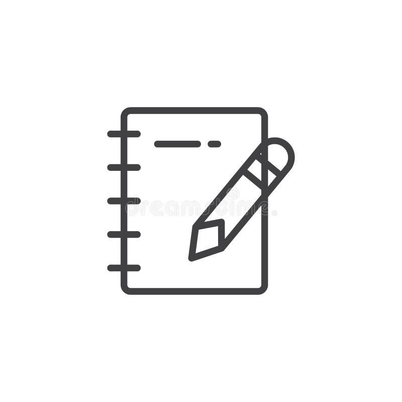 Ícone do esboço do bloco de notas e do lápis ilustração stock