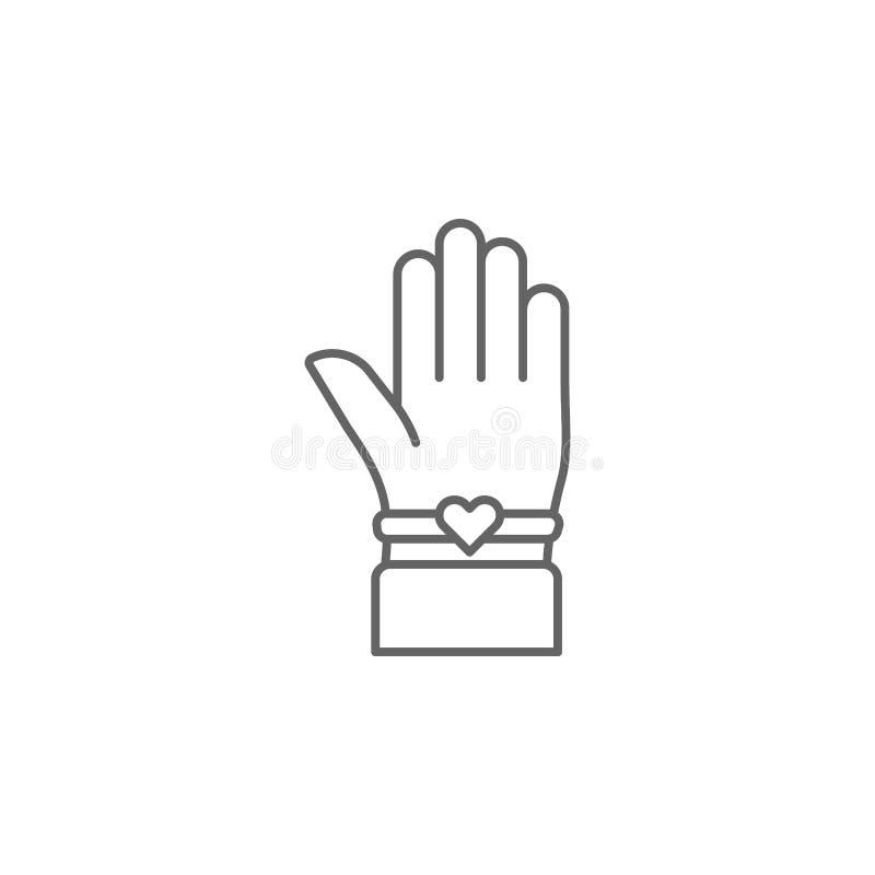 ícone do esboço do bracelete dos melhores amigos da mão Elementos da linha ícone da amizade Os sinais, os símbolos e os vetores p ilustração stock