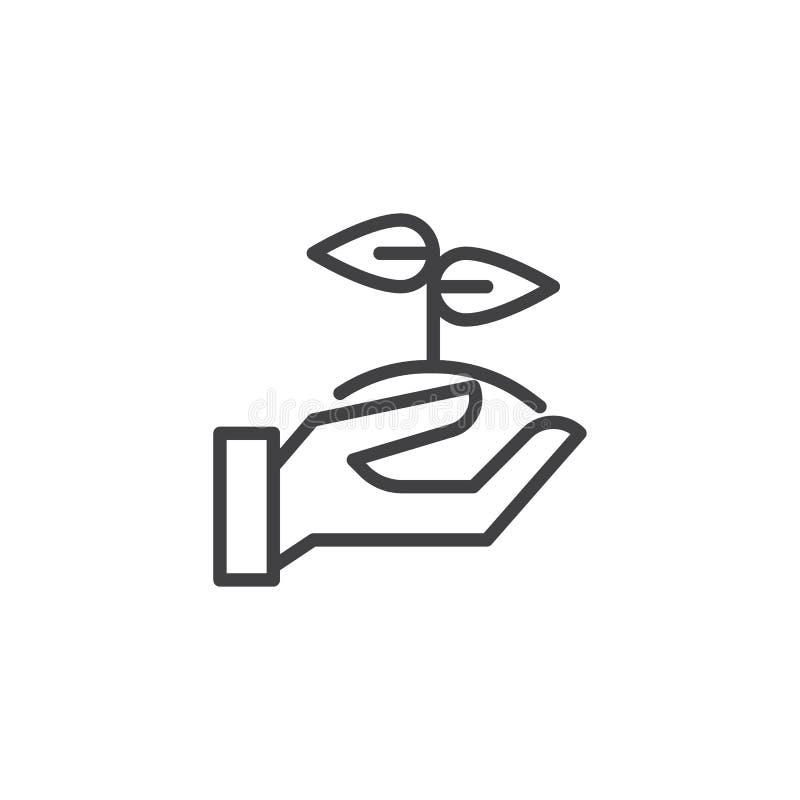 Ícone do esboço do broto da terra arrendada da mão ilustração stock