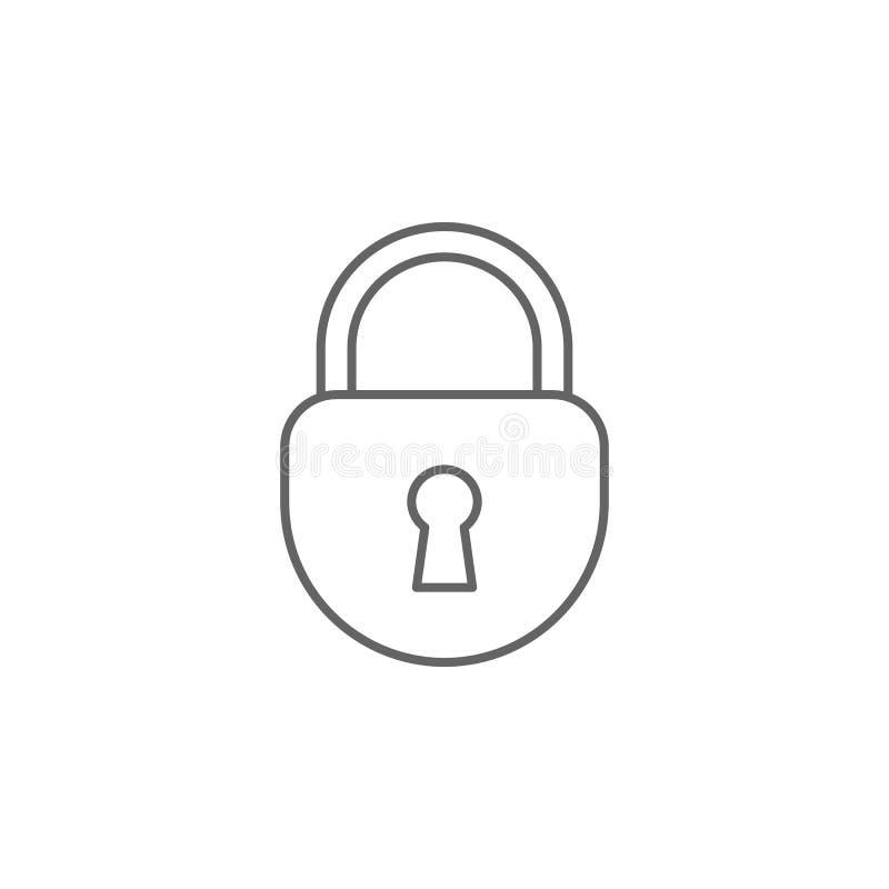 Ícone do esboço do cadeado de justiça Elementos da linha ícone da ilustração da lei Os sinais, os símbolos e os vetores podem ser ilustração stock