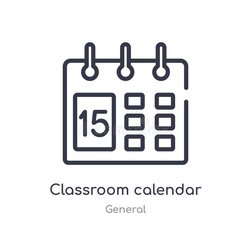 ícone do esboço do calendário da sala de aula linha isolada ilustra??o do vetor da cole??o geral sala de aula fina editável do cu ilustração royalty free