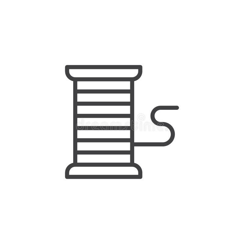 Ícone do esboço do carretel da linha ilustração do vetor