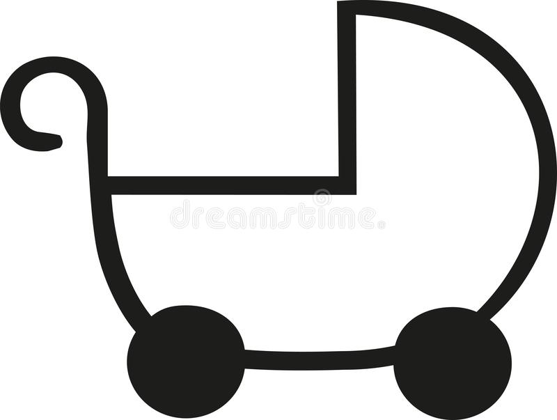 Ícone do esboço do carrinho de bebê ilustração stock