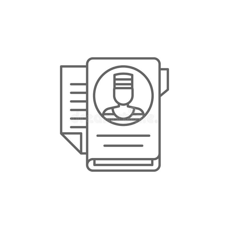 Ícone do esboço do caso de justiça Elementos da linha ícone da ilustração da lei Os sinais, os símbolos e s podem ser usados para ilustração do vetor