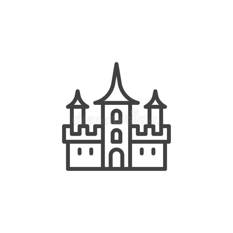 Ícone do esboço do castelo de Dracula ilustração royalty free