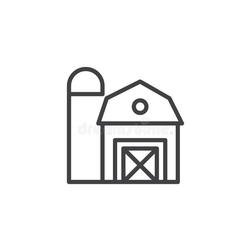 Ícone do esboço do celeiro da exploração agrícola ilustração stock